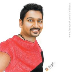 Self portrait in coloured pencil by sinjith