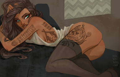 Tattoo Pin-up by babsdraws