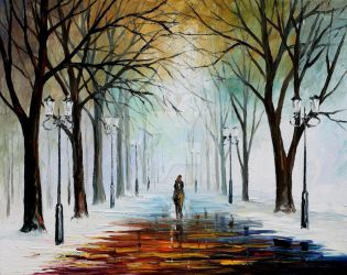 Winter mood by Leonid Afremov by Leonidafremov