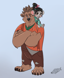 Ralph and Vanellope by IlaZua