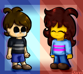 Two Kids chased by Monsters | FNaF and Undertale by Danniful
