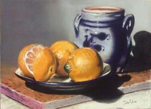 A Painting Of Three Oranges And One Jar by JoaoRibeiro123