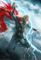 Thor - God of Thunder (mixed media) by Quelchii