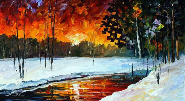 Winter Evening by Leonid Afremov by Leonidafremov