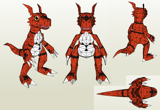 Papercraft - Guilmon by Jyxxie