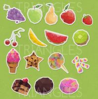 Triangles stickers food by Matylly
