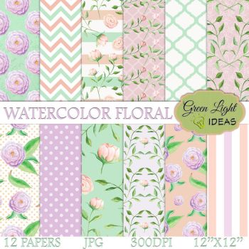 Watercolor Floral Digital Papers by GreenLightIdeasGLI