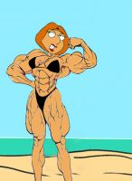 Lois flexes on the Beach by grabowski2