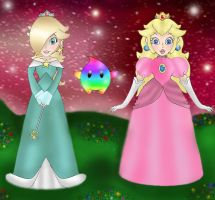 Rosalina and Peach-request by wiggler94