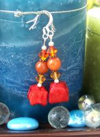 Origami Red WaterBomb Earrings by tiranaki