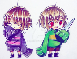 Chara and Frisk by Szainx