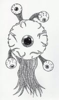 Floating Eyeball Monster by jamsketchbook