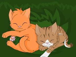 Squirrelpaw And Leafpaw by souleatersheik