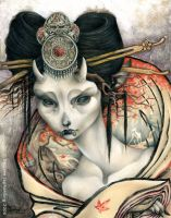 The White Doe of Nara - Sphinx by FaeryCircle