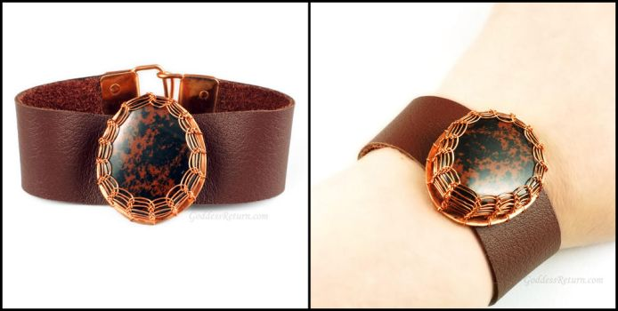 Obsidian, Copper and Brown Leather Bracelet by Gailavira