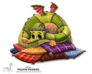 Daily Painting 1698# Pillow Dragon by Cryptid-Creations