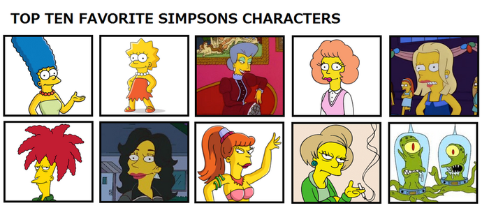 Tito's Top Ten Favorite Simpsons Characters by Tito-Mosquito