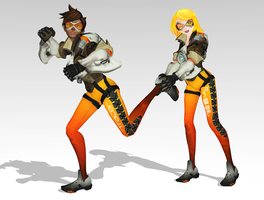[MMD] Overwatch Tracer and Kagamine Rin by arisumatio