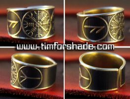 The Helm of Awe Rune adjustable ring by TimforShade