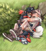 Litten and Rockruff the Gijinka by RadenWA