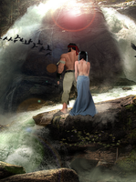 Ryu and Chun Li by the waterfall by atx22