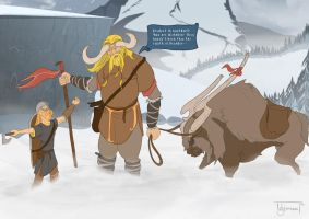 The Banner Saga fan art - Meanwhile in Nautmot... by Isbjoernson