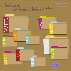 kraft paper day+month folders by seven4soul
