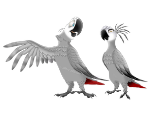 African Grey parrots by MelHellMoon