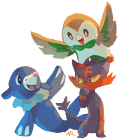 Sun and Moon starters! by MusicalCombusken