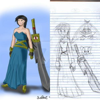 Sword and Girl - A Redraw from 2007 by Selecthumor