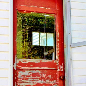 Squirrel Point red door square by JJPoatree