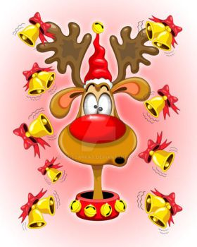 Reindeer Fun Christmas Cartoon with Bells Alarms by Bluedarkat