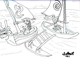 LOZ Wind Waker and Moana Fanart by Selecthumor