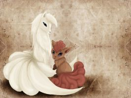 Ninetales and Vulpix by Bunchie