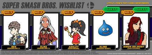 Smash Bros Ultimate - Top 5 Hopefuls by JocelynSamara
