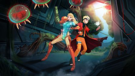 Samus and Naruto - Commission by Raiden-chino