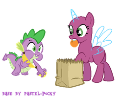 Spike stealing your food - MLP Base by Pastel-Pocky