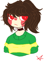 Chara as a female/Teen by TheSadSoul