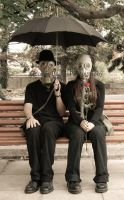 Mr. and Mrs. Gasmask by Teophoto