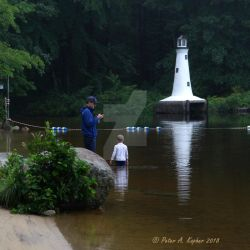 Lighthouse, Lake, Lad and Dad  by peterkopher