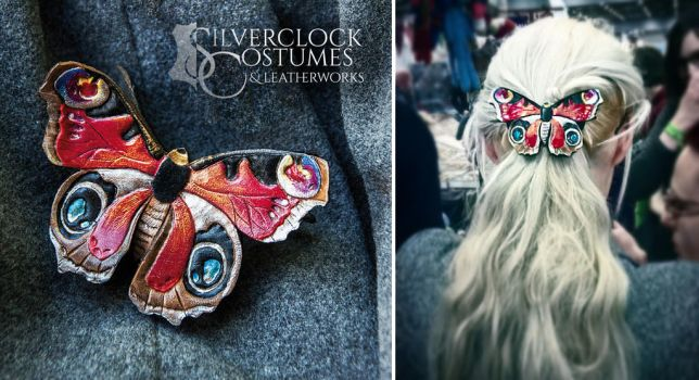 Peacock Butterfly hair barrette - leatherwork by SilverclockCostumes