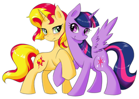 Twilight and Sunset Shimmer by yoonny92