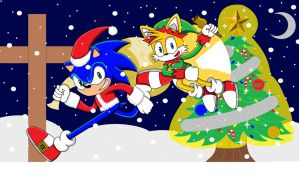 Merry Christmas from Sonic and Tails by SuperSentaiHedgehog