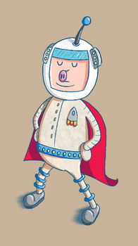 Super Spaceman Pigsworth - Test Illustration by moopf