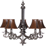 Chandelier with leather lamp shades by LilipilySpirit