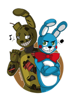 Art Trade KaijuKim - Springtrap and Toy Bonnie by Niutellat