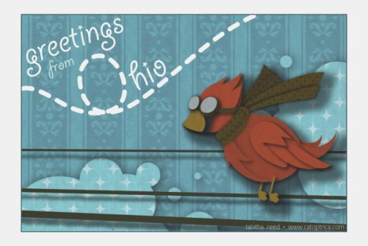 Ohio postcard: red cardinal by pepper-tea