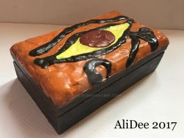 Clay on Wood Box: Eye of Ra by AliDee33
