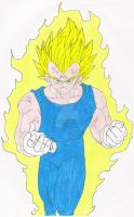 Majin Vegeta Colored Pencil by Disturbed-Minded