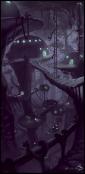 Mata Nui sights - Le-koro by Night by IRON6DUCK